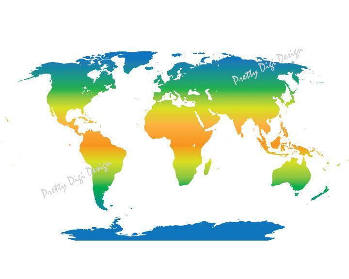 Printable World Map Printable Poster Digital World Map Wall Art - A3 printable world map