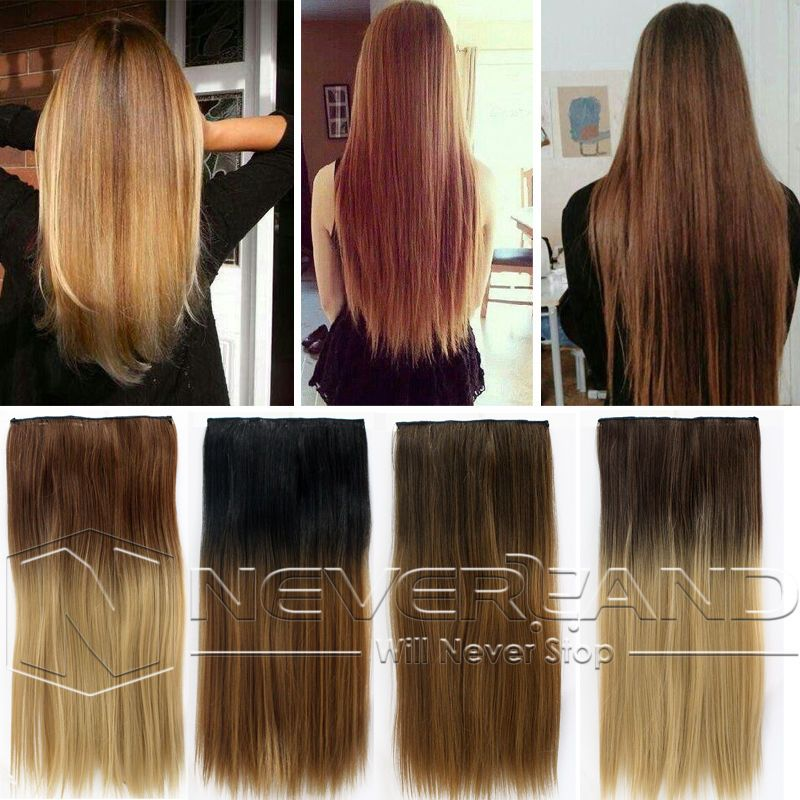 Fashion 24 One Piece Straight Ombre Clip In Hair Extensions