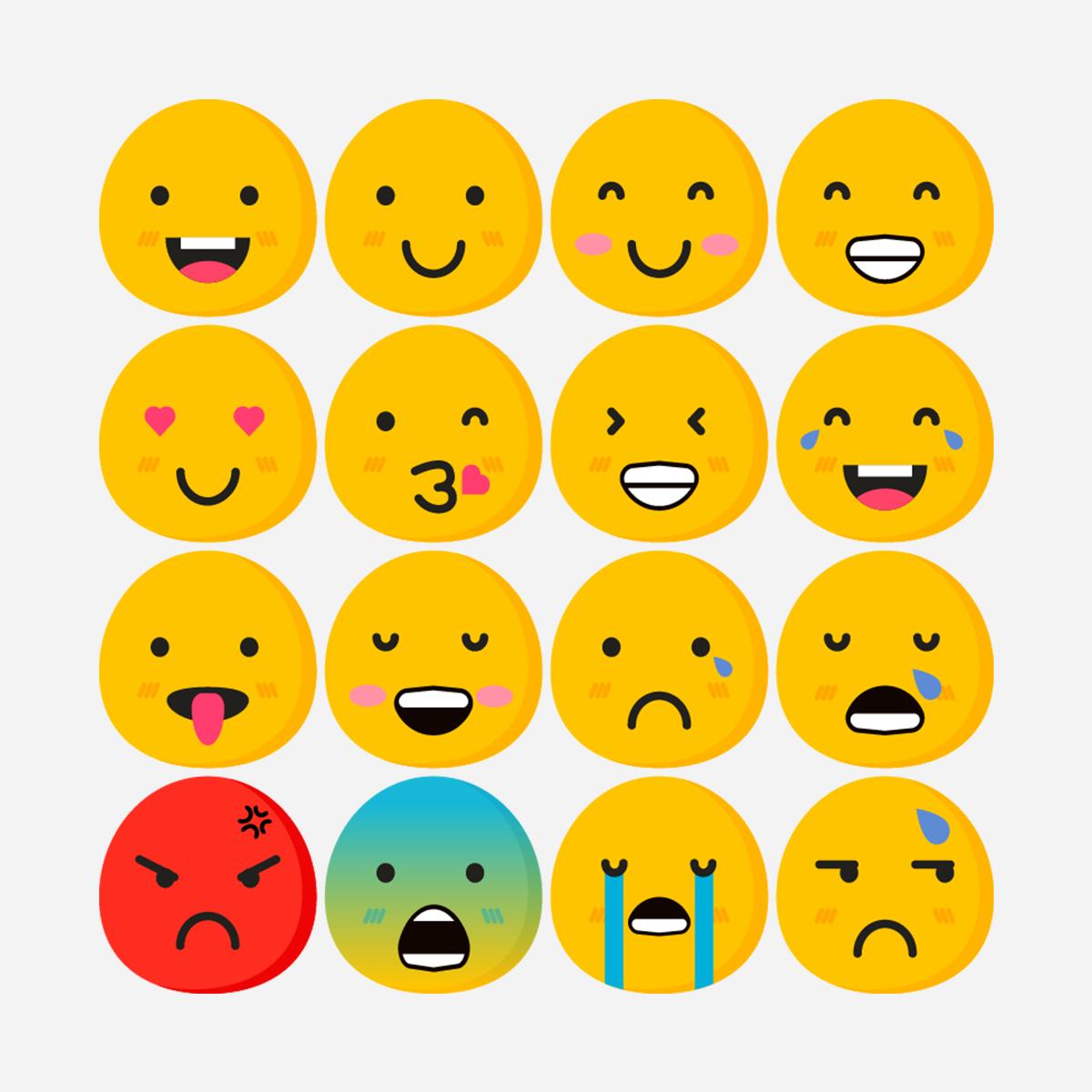 Free Flat Emoji Pack (EPS, SVG, PSD, PNG)