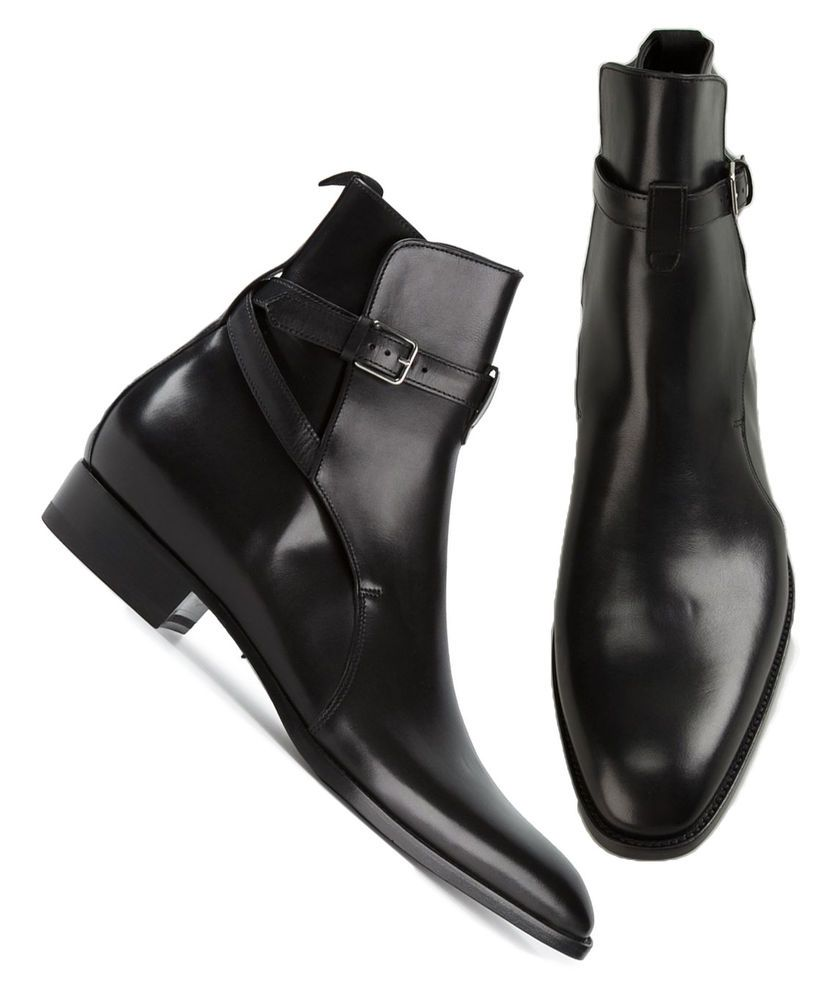 Buckle Leather Boots, Mens Dress Boots