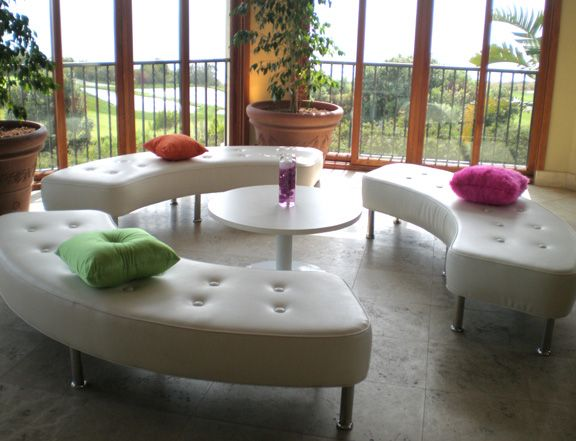 curved tufted benches | Event Furniture | Pinterest
