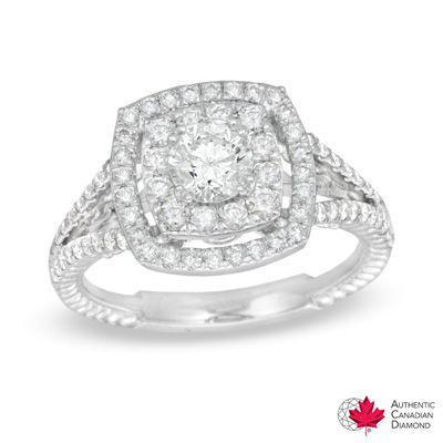 125 CT TW Certified Canadian Diamond Split Shank Engagement Ring