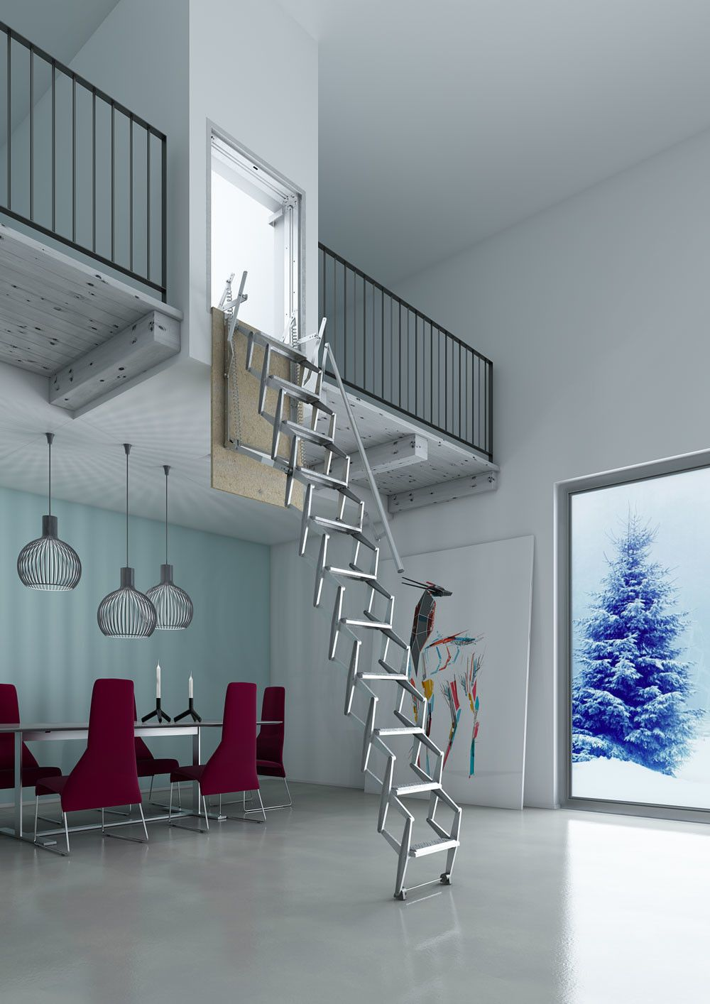 Escalera plegable para hueco en pared gana un nuevo espacio escaleras escamoteables en kit - Escalera plegable altillo ...
