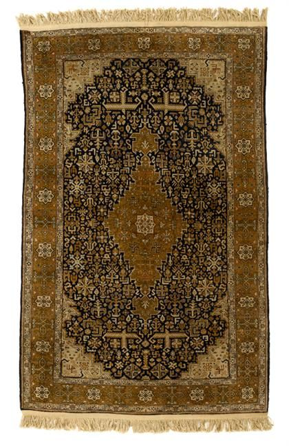Qum silk rug   central persia, mid 20th century    6 ft. 2 in. x 3 ft. 2 in - FREEMAN'S