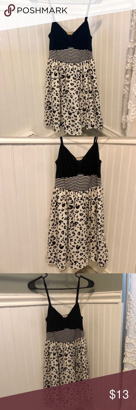 5 For 20 Black White Leopard Print Dress Leopard Print Dress Long Sleeve Shift Dress Sleeveless Knit Dress [ 1740 x 580 Pixel ]