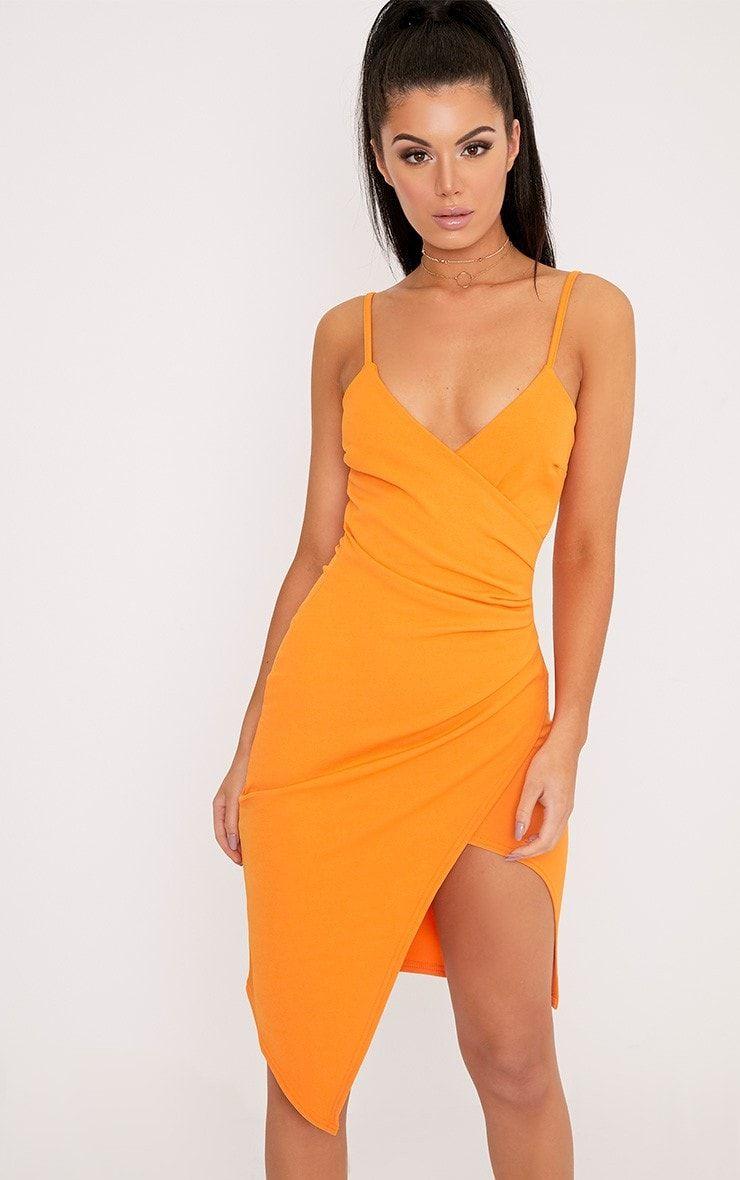 Bright Orange Wrap Front Crepe Midi Dress Channel slick and ...