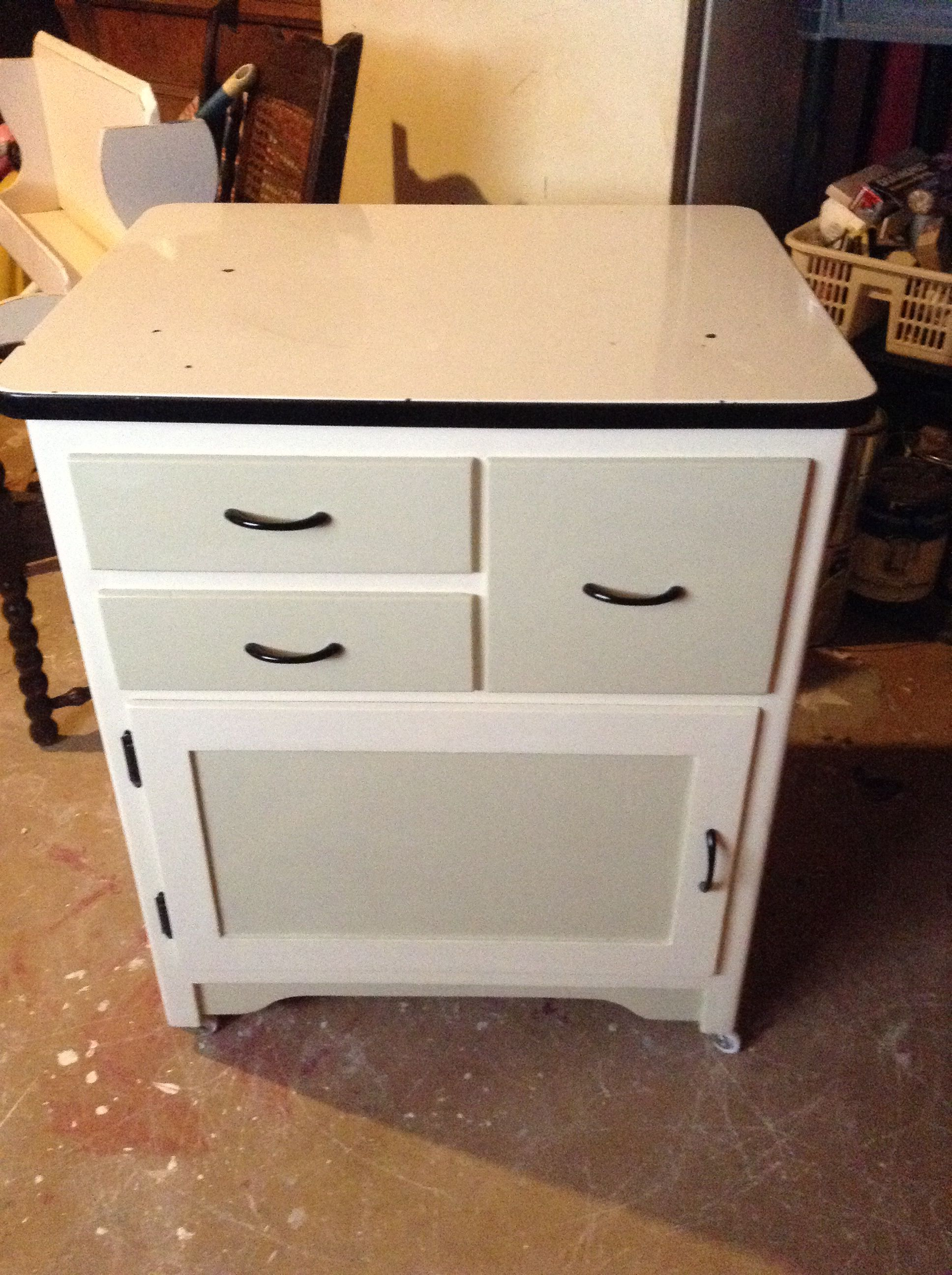 Painted enamel top cabinet bakers cabinet painted furniture enamel glaze polish