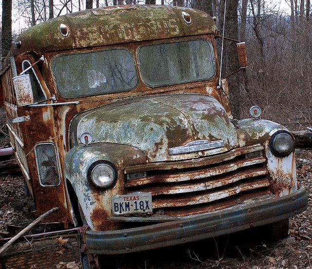 Rusty Old School Bus Old School Bus School Bus Abandoned Cars