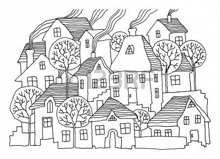 Cartoon hand drawing houses Stock Photo - 17300439