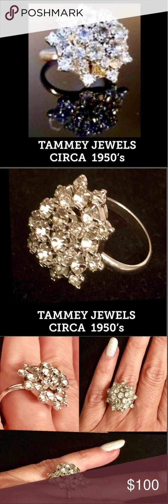 fae62cfce0f0b VINTAGE Circa 1950's TAMMEY JEWELS CLUSTER RING VINTAGE Circa 1950's ...