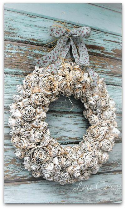 Photo of DIY Paper Rosette Wreath Tutorial. Paper wreath, rustic wreath, holiday wreath, …