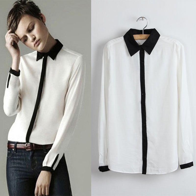 black and white classic collar handsome long-sleeved shirt $15.99 ...