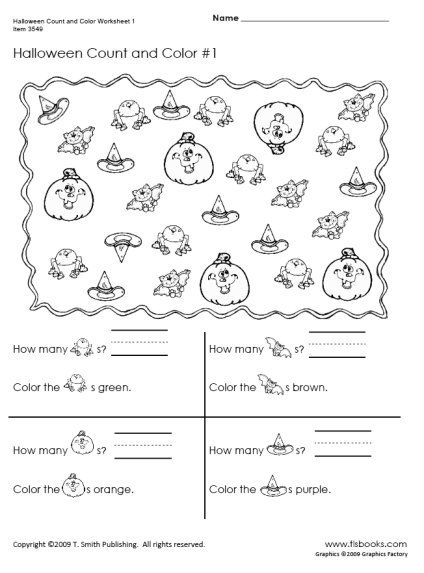 TLSBOOKS.com FREE Worksheets Halloween Count and Color
