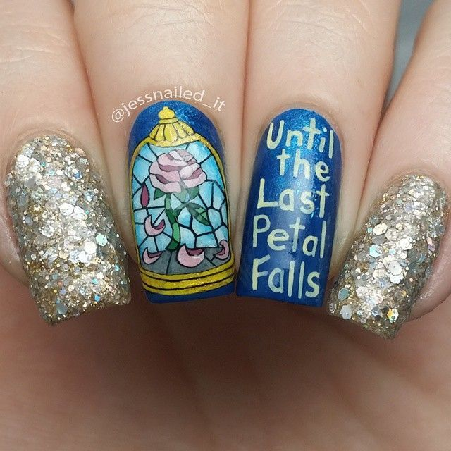 Stained Gl Nail Art Inspired By Belle From Beauty And The Beast