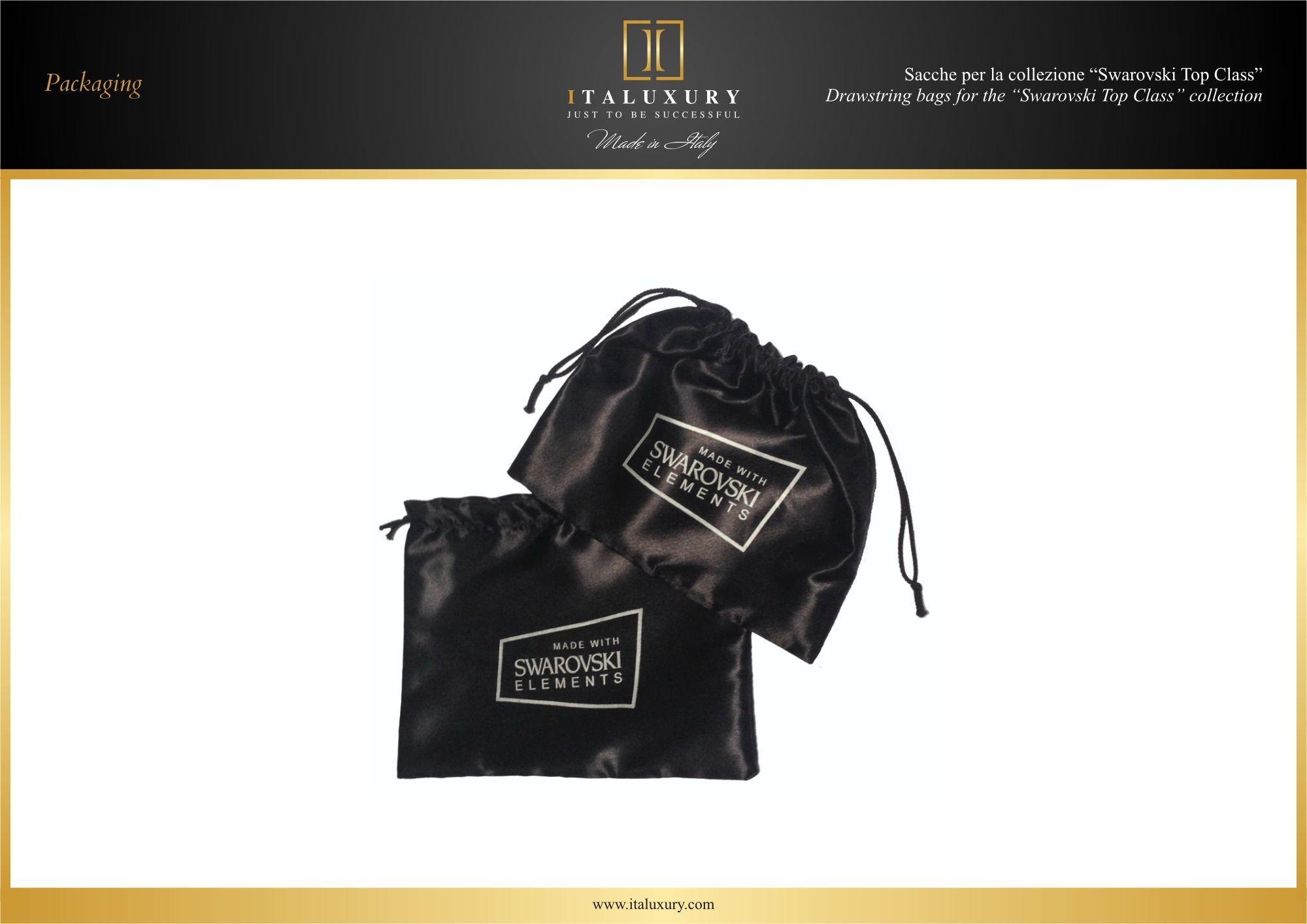 "#Sacche per la collezione ""#Swarovski Top Class"" / #Drawstring #bags for the ""#Swarovski Top Class"" collection by ITALUXURY | #Luxury Leather Goods & Accessories - Made in Italy. Website: www.italuxury.com"
