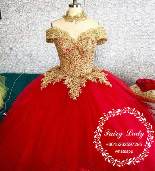 bfc3ffc7780 Exquisite Gold Appliques Formal Quinceanera Dresses 2018 Red Puffy Ball Gown  Off Shoulder Beads Vestidos 15 Anos Sweet 16 Dress Pageant