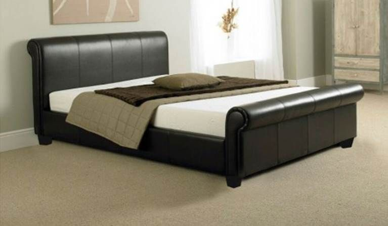 Tuscany Modern Leather Sleigh Bed Leather Bed Frame Leather