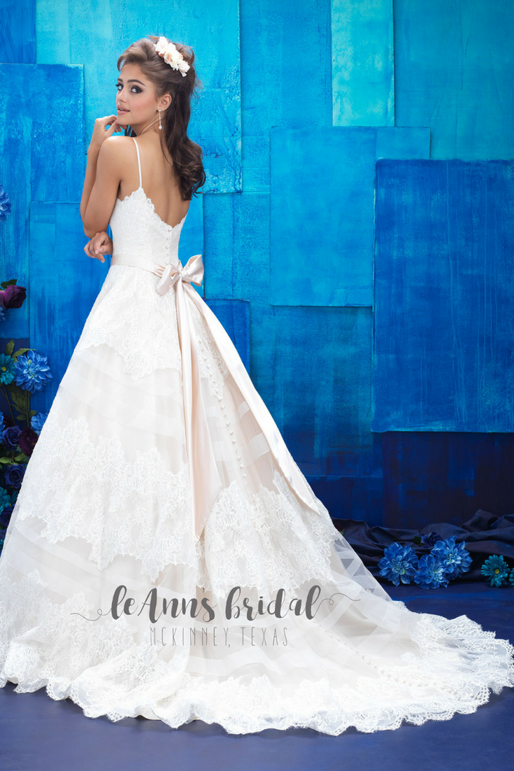 Allure Bridals 9400 - Sheer chiffon stripes create a tiered effect ...