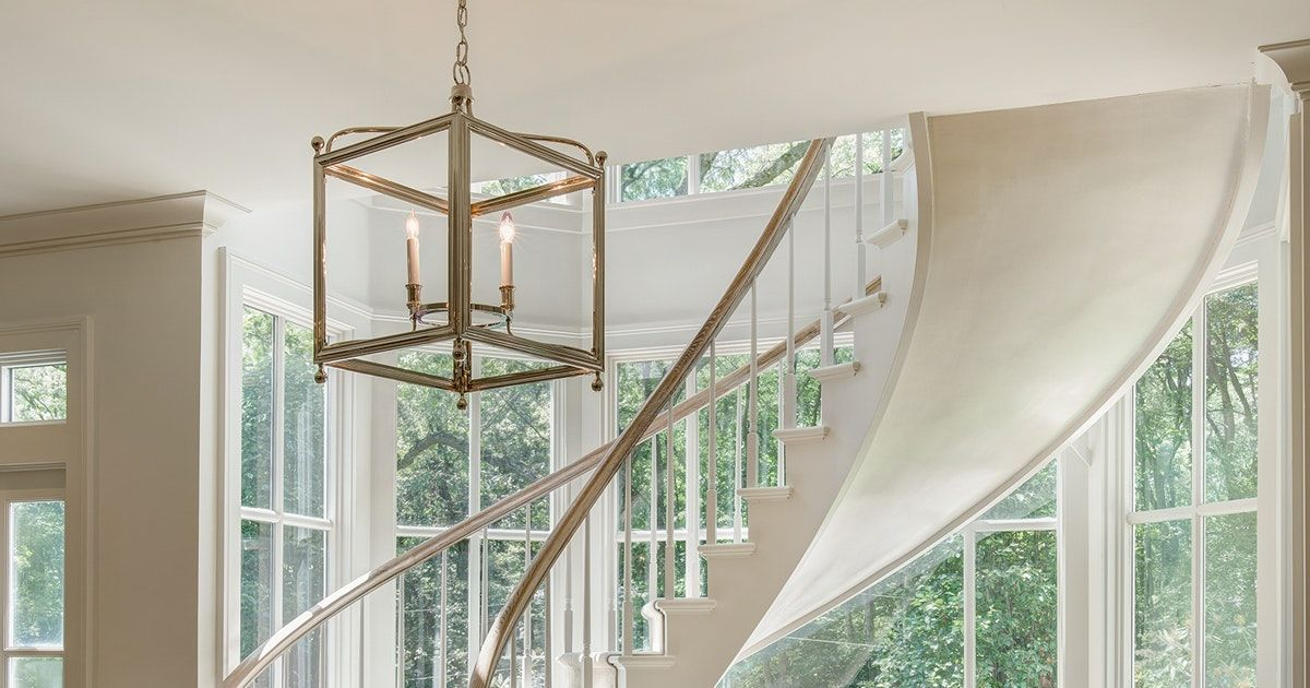 Foyer Chandelier Window : Stylish lighting designs for stairwells design foyer