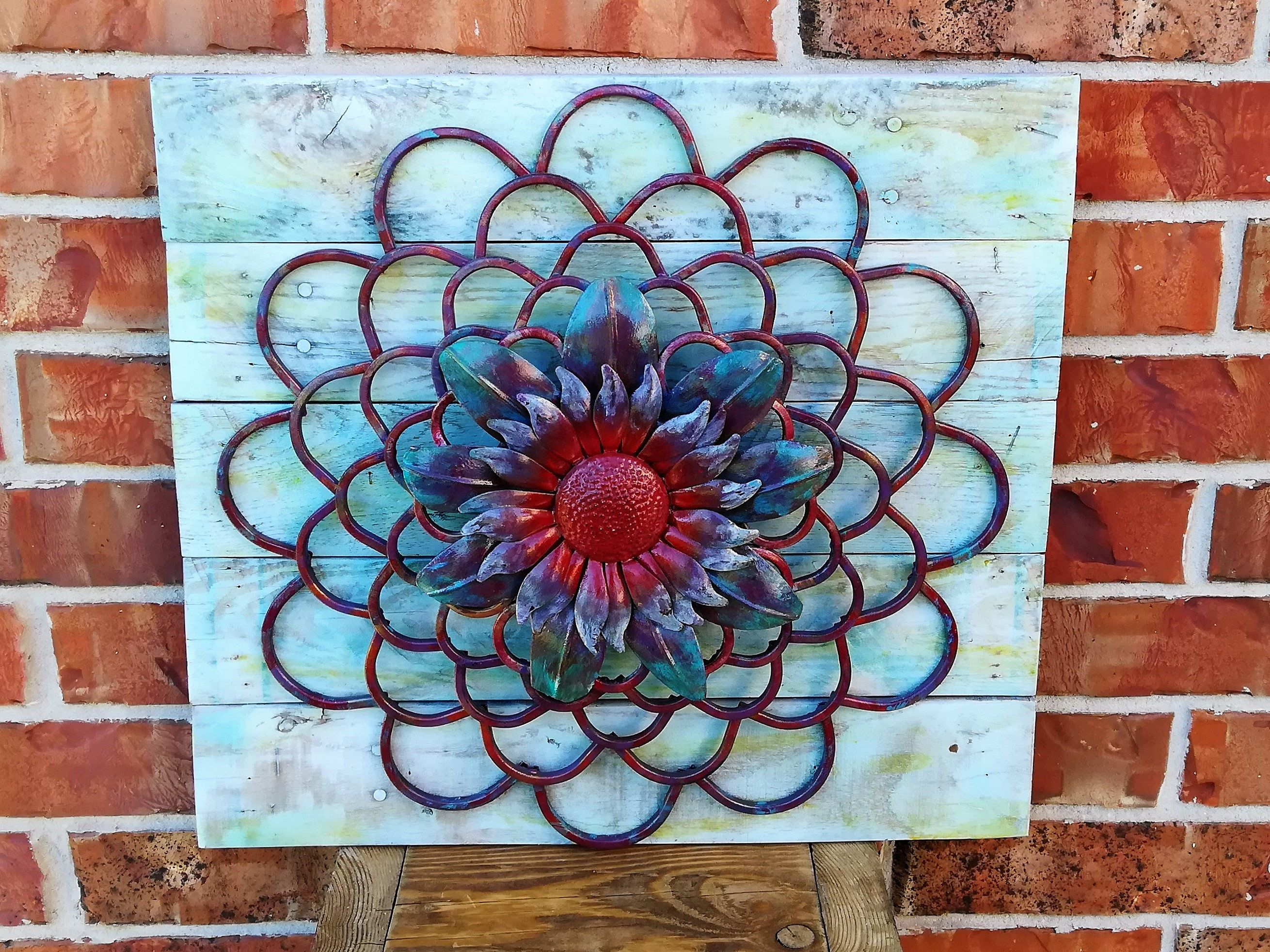 Metal decor rounded wall art featuring blossomed flower on recycled