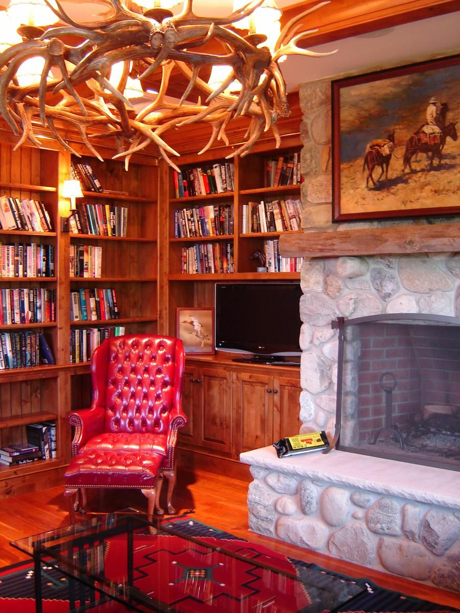 Rustic Library Den: Library, Could Put My Native American Picture Above The