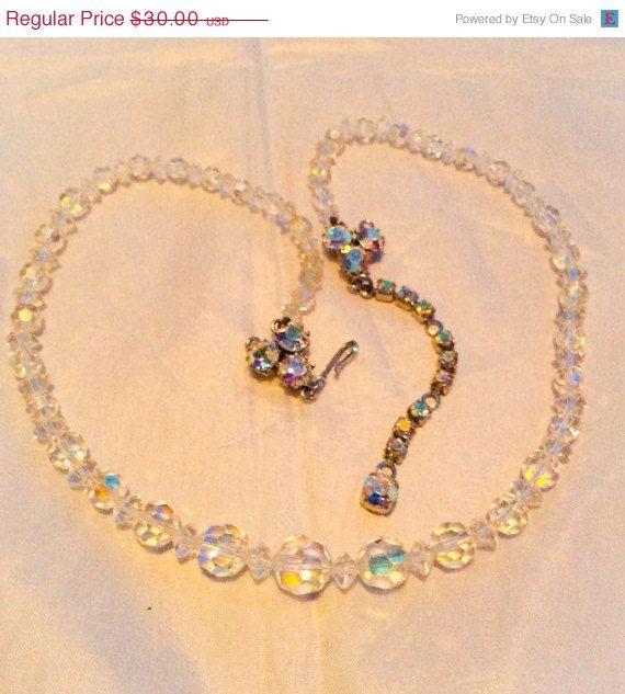 ON SALE Art Deco Borealis Crystal Necklace 1940s Vintage Wedding Jewelry on Etsy, £15.02