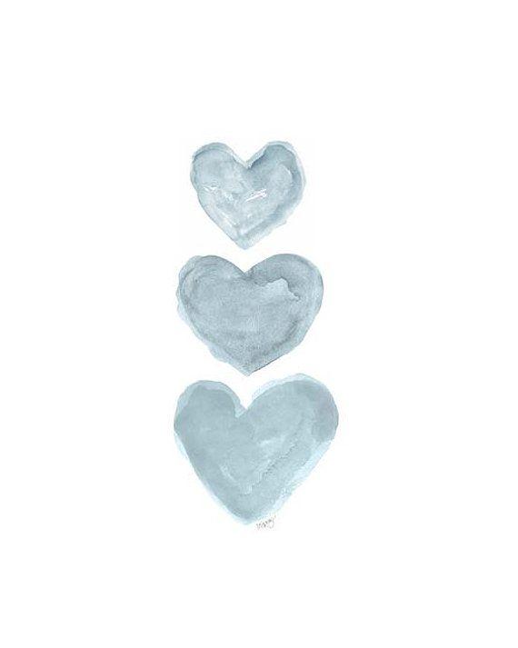 Blue Gray Nursery Art French Blue Nursery 8x10 Watercolor