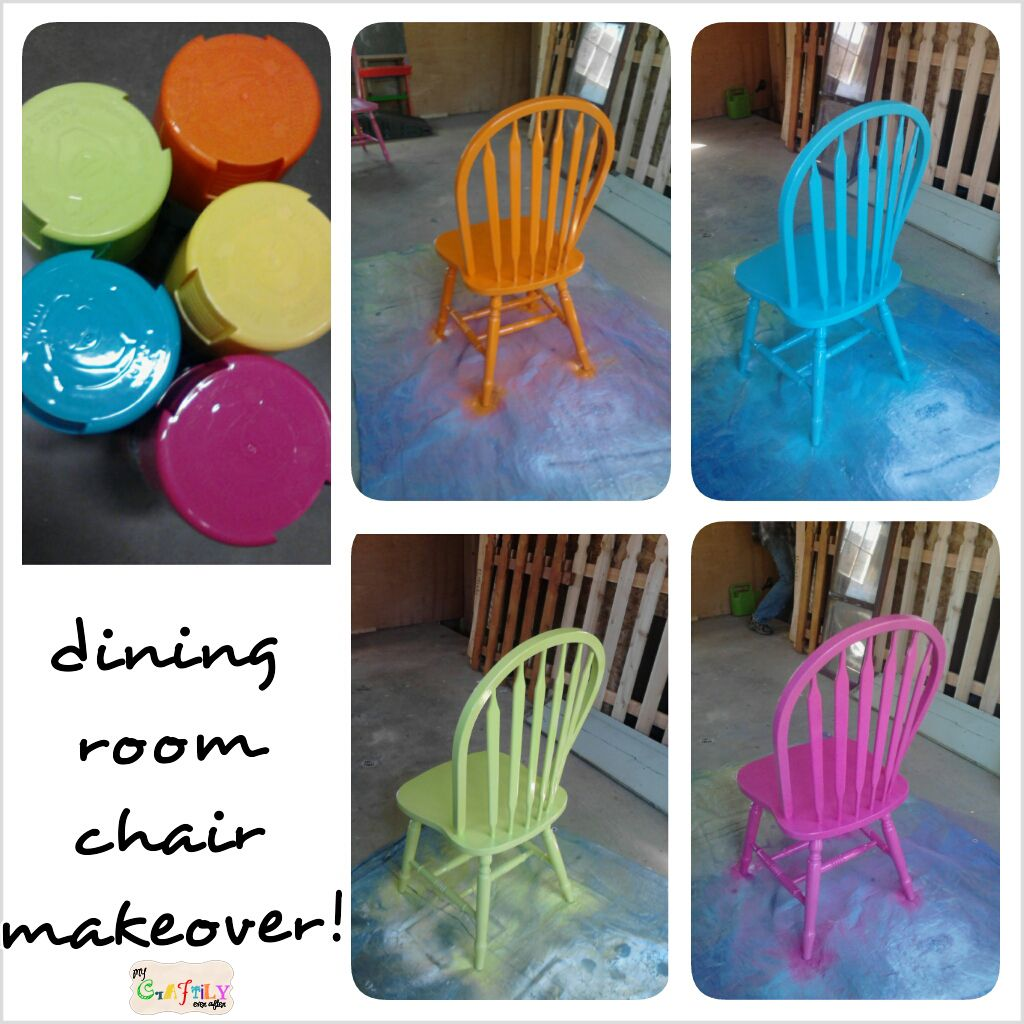 Spray Painted Fiesta Chairs For The Dining Room Table