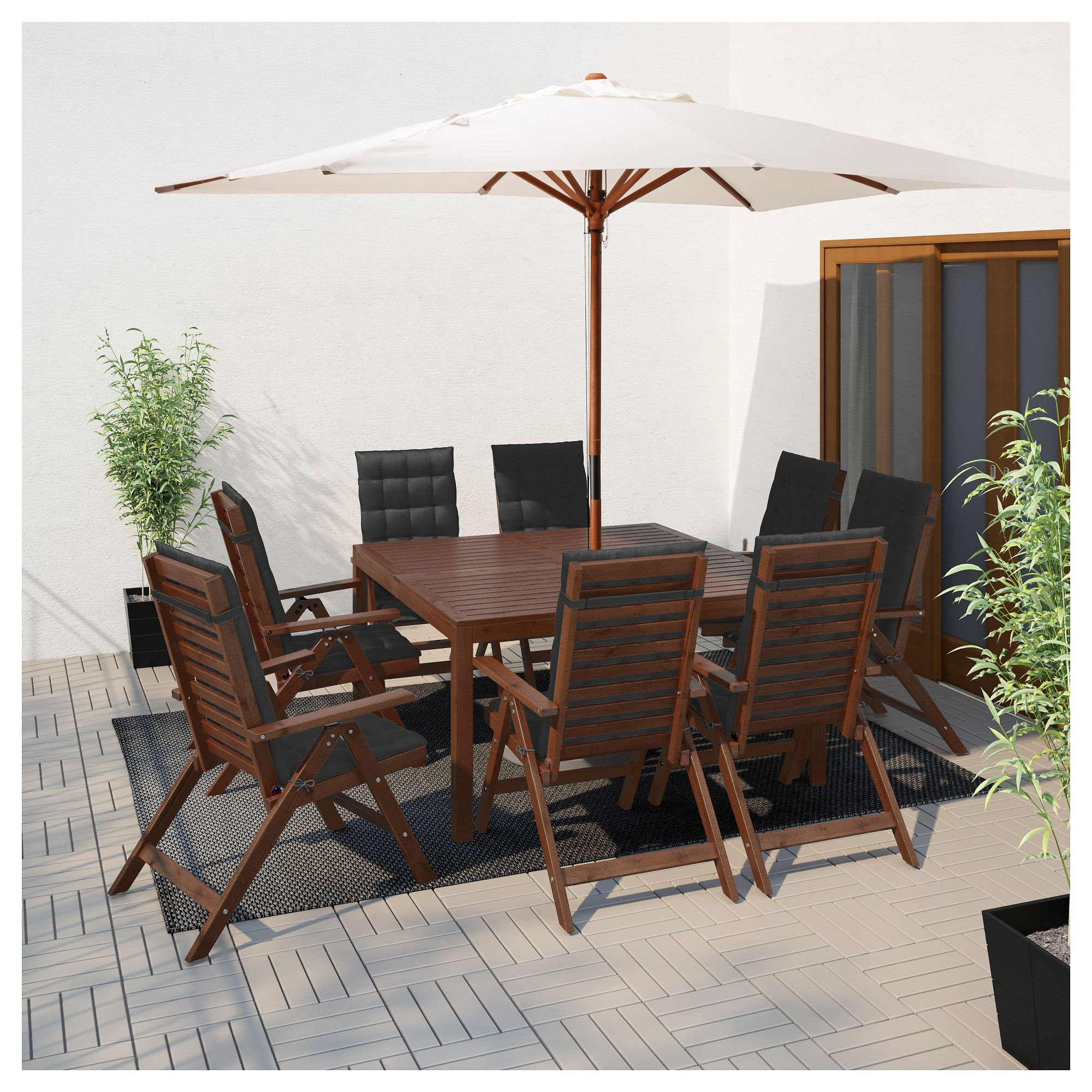 """PPLAR– Table and 8 reclining chairs outdoor brown stained"