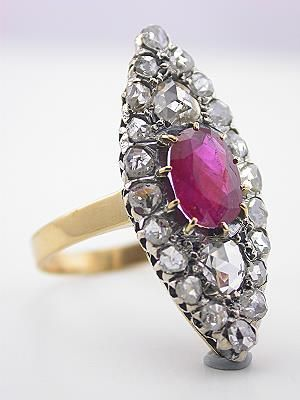 Victorian Antique Ruby Ring from France
