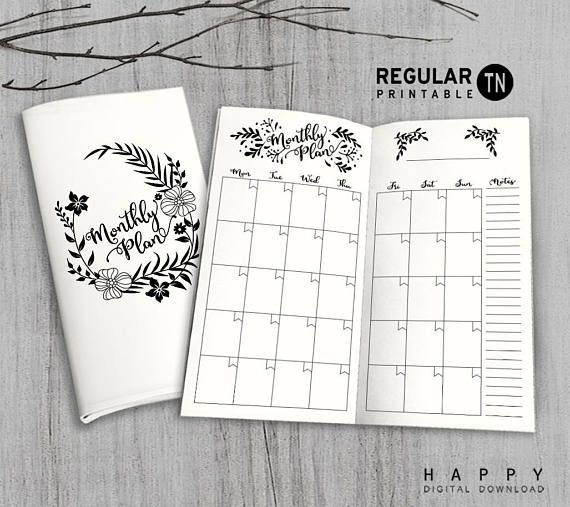 Printable Monthly Planner Inserts Midori Monthly Planner  Inspire