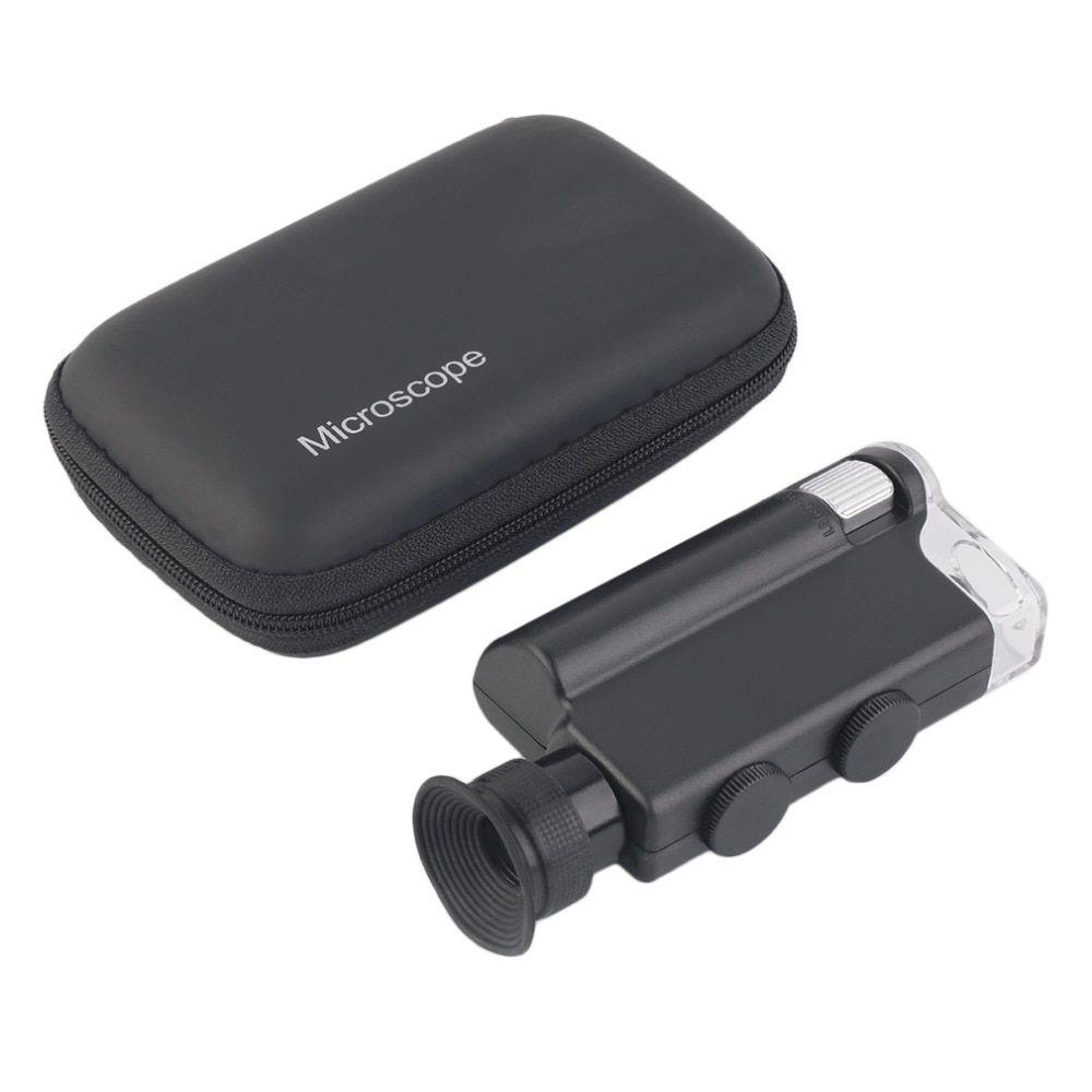 Mini Portable Microscope Pocket 200x 240x Handheld Led Lamp Light Loupe Zoom Magnifier Magnifying Glass Pocket Le Magnifying Glass Pocket Microscope Lamp Light