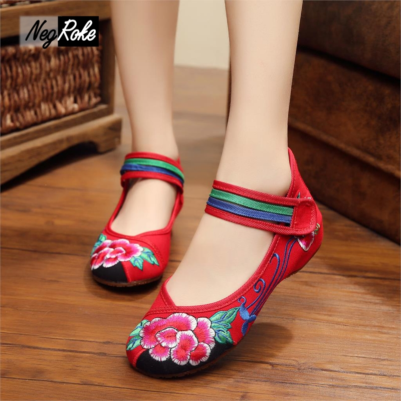 Ethnic Style Womens Ankle Strap Round Toe Embrodiery Floral Casual Canvas Shoes