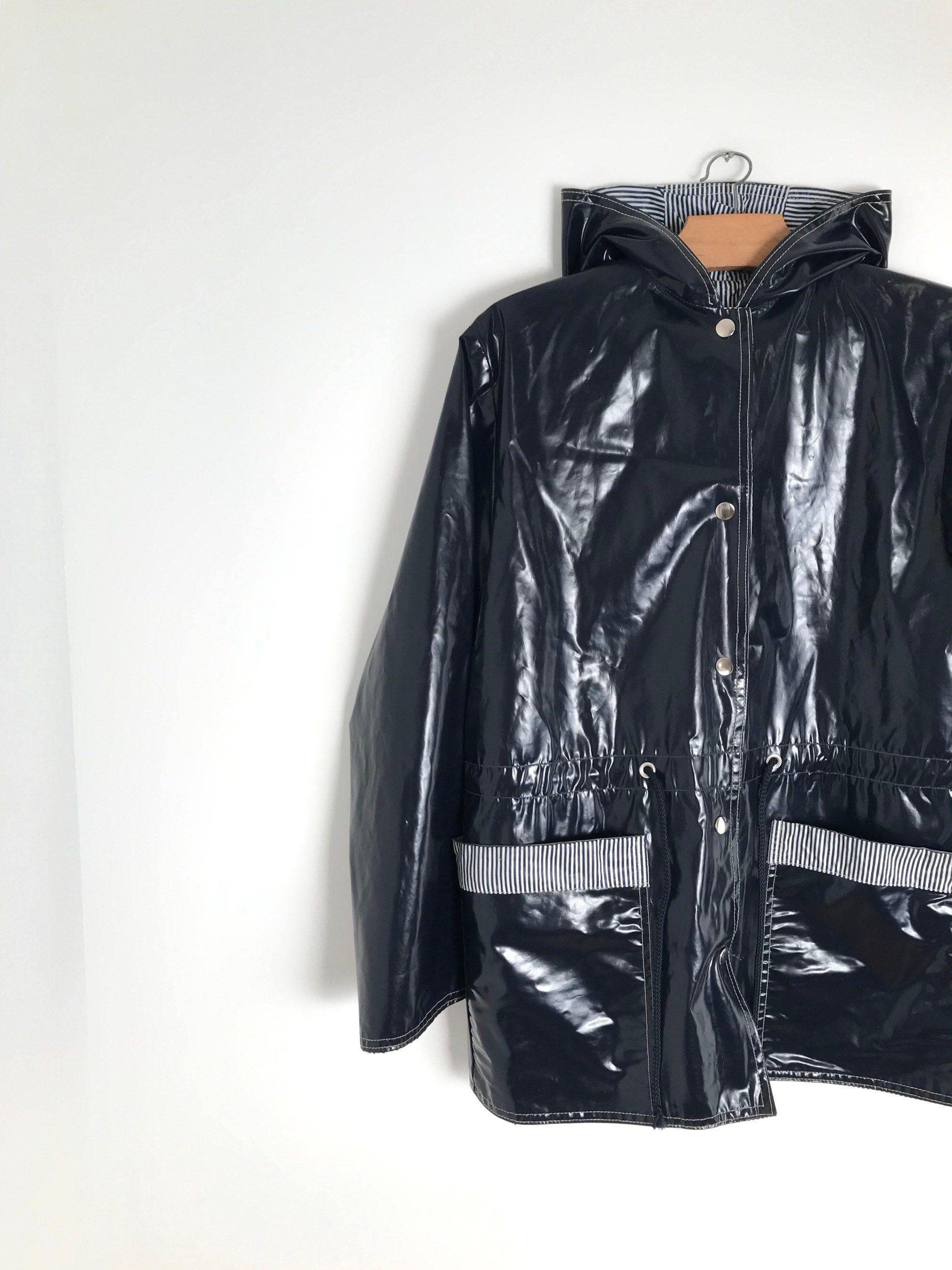 Vintage Hooded Raincoat Navy Blue Vinyl Coat Button Down Hoody Waterproof Vest Xs S 1980s De La Bo Vintage Coat Raincoats For Women Hooded Raincoat