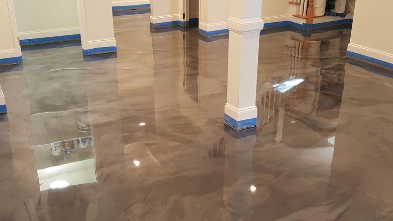 Residential Basement Epoxy Floor In Raleigh Nc Witcraft Decorative Concrete Coatings Witcraft Decorative Co Concrete Decor Epoxy Floor Basement Epoxy Floor