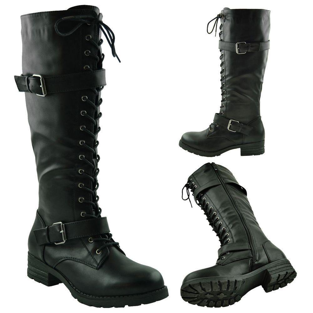 Women's Knee High Distressed Faux Leather Black Buckle Riding Boots