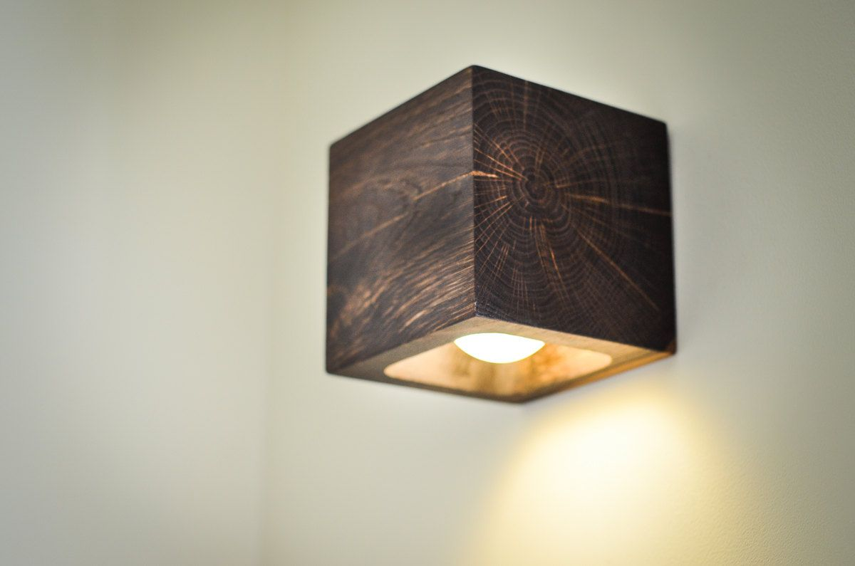 Wooden Cube Wall Lights : wooden wall lamp CUBE#6 handmade. dark brown bog oak wall lamp. wood lamp. wall light ...