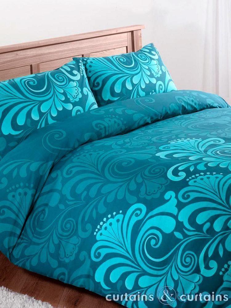 Teal Floral Luxury Printed Duvet Cover Teal Bedding Teal Bedding Sets Turquoise Duvet Cover