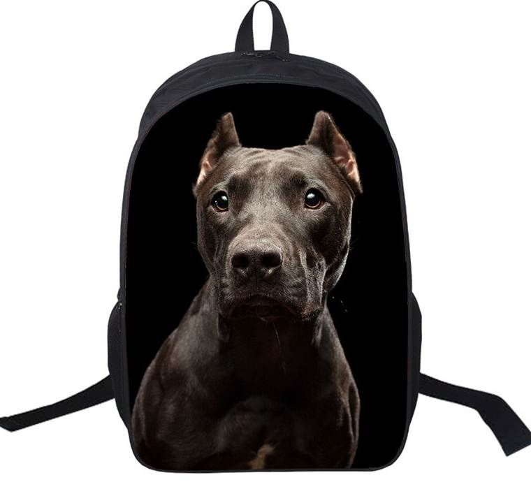 8d9ee912f63e Black Pitbull Daypack Bag Rottweiler Backpack For Teenager Children ...