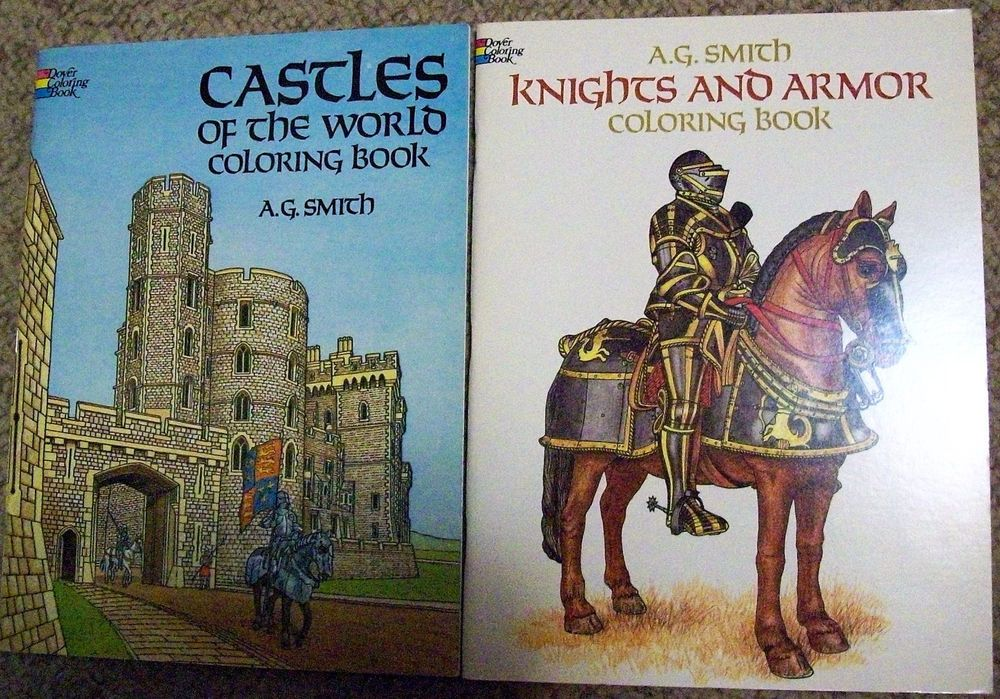 Knights & Armor + Castles of World Coloring Book Lot ~ AG