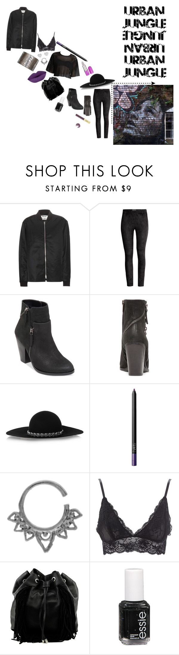 """""""B.M.3."""" by rosegoldtears ❤ liked on Polyvore featuring Acne Studios, H&M, Vince Camuto, Yves Saint Laurent, NARS Cosmetics, Charlotte Russe, Steve Madden and Essie"""