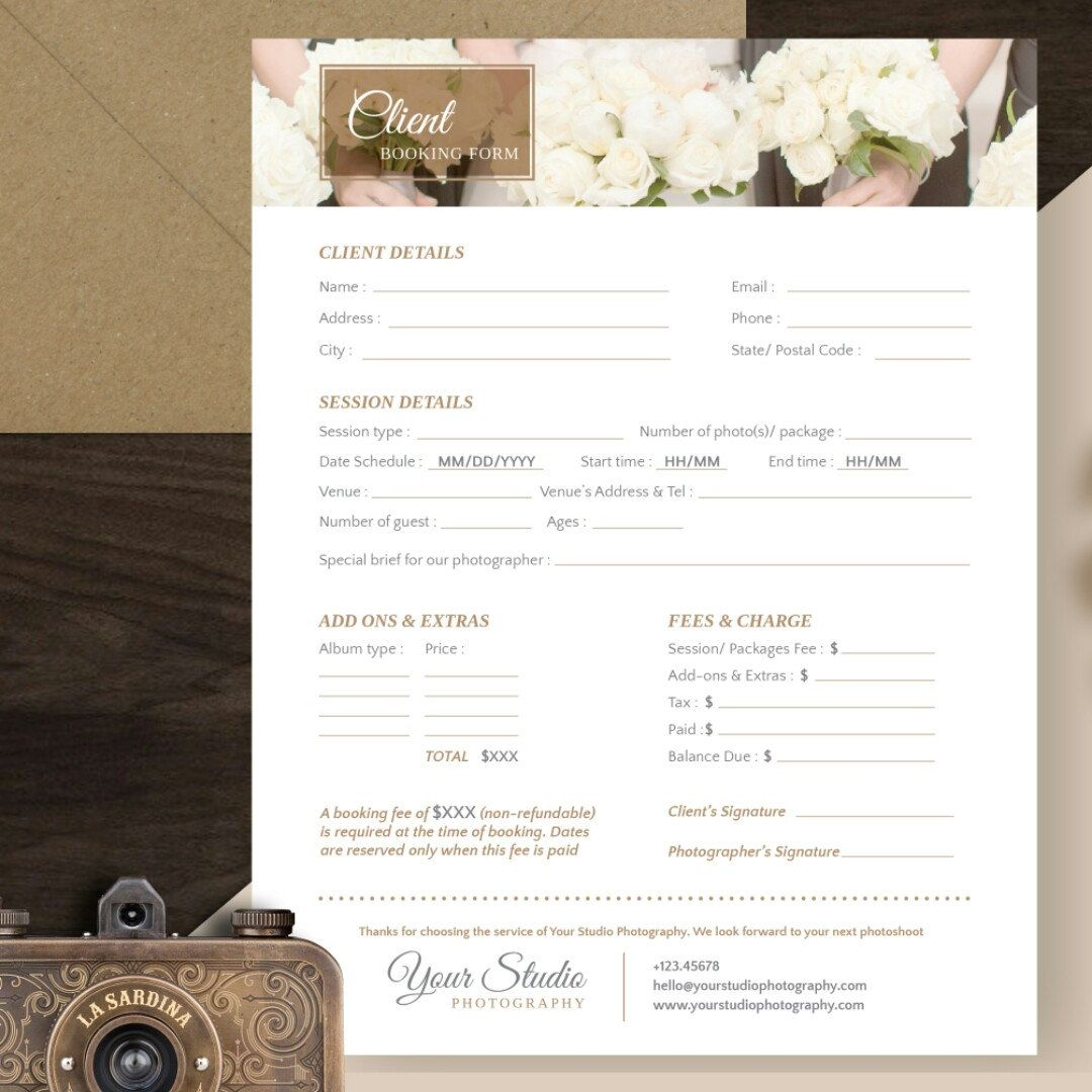 Client Booking Template For Photographer Photography Booking Form