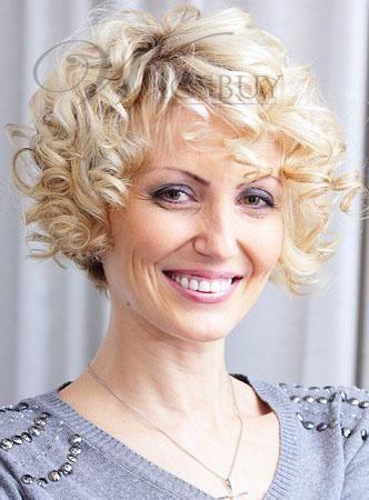 Graceful Hand Crafted Short Curly Blonde 100% Echthaar Volle Spitze Perücke 8 Zoll, #Blond …