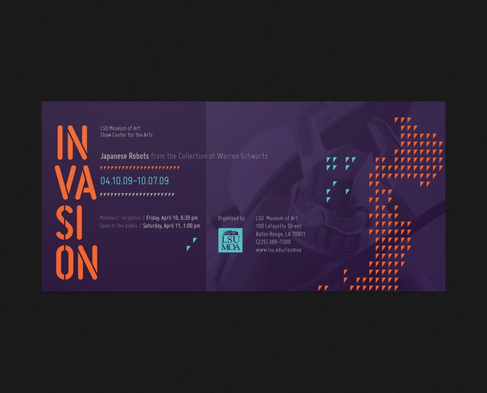 Branding & Identity / LSU Museum of Art Invasion invite