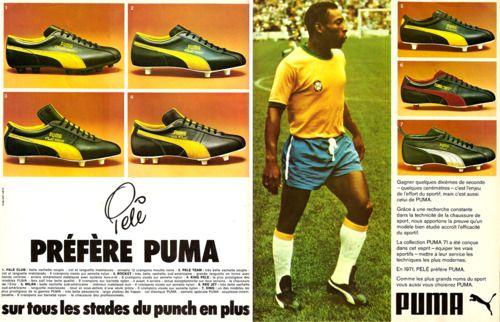 Evolución de los uniformes de futbol Pelé se convierte en un modelo y s  invitado a utilizar unas zapatillas diseñadas la marca Puma