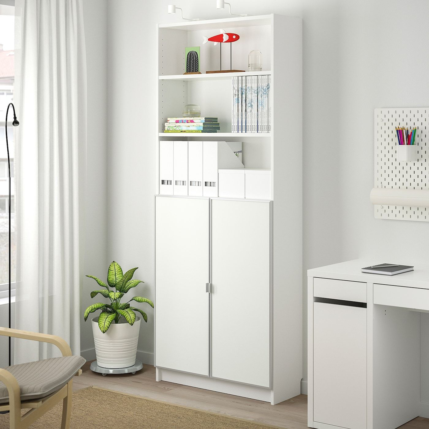 IKEA BILLY / MORLIDEN bookcase with glass doors – white / glass