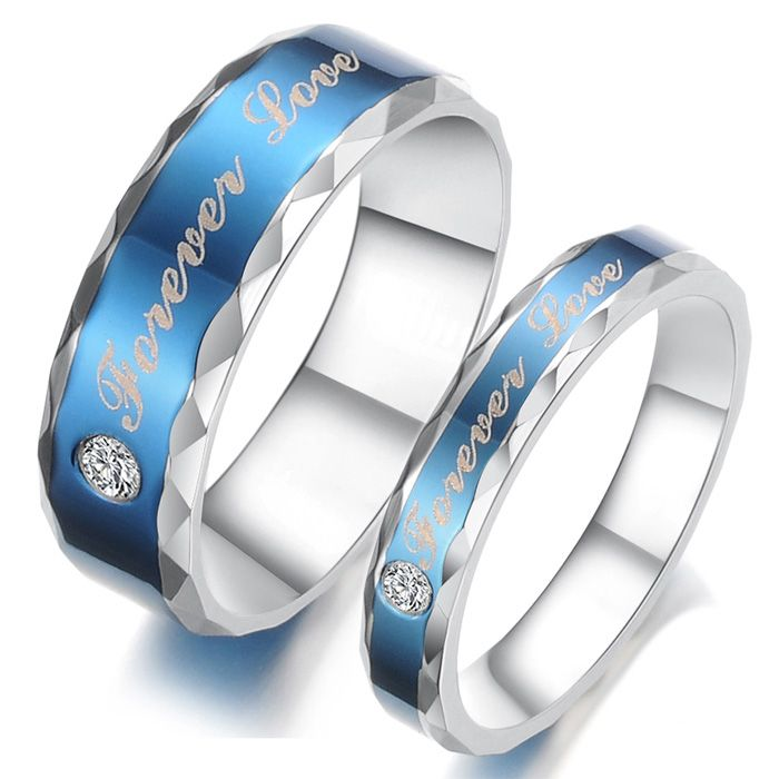 Couple Titanium Stainless Steel Mens Ladies Promise Ring Wedding Bands Matching Set Best Personalized Gifts
