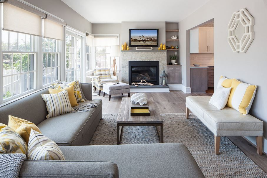 yellow & grey family room | house | pinterest | grey family rooms
