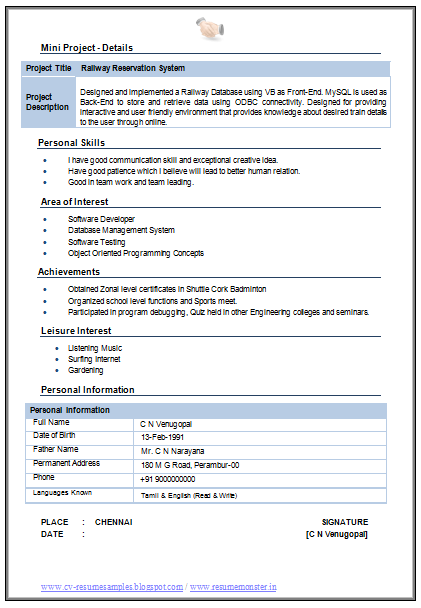 MCA Resume Format For Experience Download   Http://www.resumecareer.info  Resume Format For Word