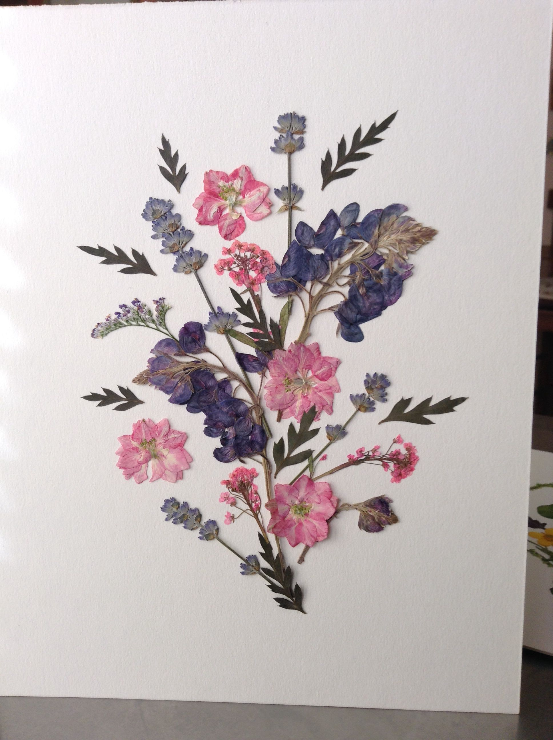 By amie clay pressed flower art with fern tips